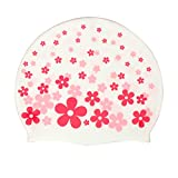 Moolecole Rosenrot Cartoon Blume Kinder Silicone Wasserdicht Badekappe Kids Swimming Cap