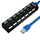 ONCHOICE USB 3.0 Hub 7 Ports mit Energiespar Schalter, USB Adapter Superspeed LED Anzeige USB Verteiler mit 1M Kabel für PC, Laptop, Notebook, Computer, Windows, MacBook Air