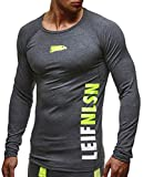LEIF NELSON GYM Herren Fitness Sweatshirt T-Shirt Langarm Trainingsshirt Training LN6331; Größe M, Anthrazit-Gelb