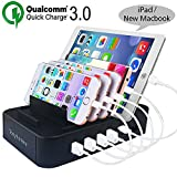 Handy Ladestation(60W 12A,5-Port),Tonyhoney Multi Ladestation mit Quick Charge 3.0 & Typ C Ports Universell Ladegerät USB Dockingstation für Apple iPhone iPad Samsung Smartphones Tablet Handy,Schwarz