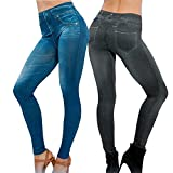 Damen Jeggings 2 stk. (Schwarz + Blau) Herbst skinny Leggings Jeans Look stretch Leggins elastisch Treggings dehnbar (XXL, Schwarz + Blau)