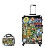 PREMIUM DESIGNER Hardside Luggage set 2 pcs. - Heys Artist Fazzino London Trolley with 4 Wheels Large + Beauty Case 470579031&Artist&27+28
