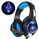 Gaming Headset für PS4 PC Xbox One, Beexcellent LED Licht Crystal Clarity Sound Professional Kopfhörer mit Mikrofon für Laptop Mac Handy Tablet