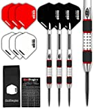 Red Dragon Evos 28g Tungsten Steel Darts (Steel Dartpfeile) mit Flights Schwarz, Schäfte, Brieftasche & Red Dragon Checkout Card