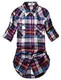 Match Damen Flanell Kariert Shirt #B003(2021 Checks#18,Small(Fit 33''-35''))