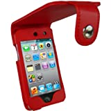 igadgitz PU Leder Tasche Schutzhülle Etui Case Hülle in Rot für Apple iPod Touch 4G 4. Gen Generation 8gb 32gb & 64gb + Gürtelbefestigung + Display Schutzfolie