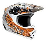 DIRT-MX CARBON KEVLAR MOTOCROSS HELM CFK WEISS ORANGE MIT ZULLASUNG (L)