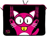 Kitty to Go LS140-17 Designer Laptop Tasche 17 Zoll Notebook Sleeve Hülle Schutzhülle aus Neopren bis 43,9 cm (17,3 Zoll) Bag Case Katze schwarz-pink