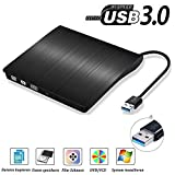 USB3.0 DVD-RW DVD/CD Brenner Slim extern Laufwerk Portable DVD CD Brenner, QinYun Superdrive für alle Laptops/Desktop z.B Lenovo,Acer,Asus,PC unter Windows und Mac OS für Apple Macbook, Macbook Pro, MacbookAir, iMac – Schwarz