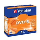 Verbatim DVD-R 16x Speed 4,7 GB Scratch Resistant Surface Jewel Case 5er Pack DVD-Rohlinge