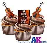 Kuchendekoration 'Keep Calm and Love Violine' Violinen-Mix – essbare, aufstellbare Cupcake-Deko (12er-Packung)