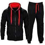 BE JEALOUS Herren Essentials Contrast Trainingsanzug Fleece Kapuzenpullis Jogginghose Jogginghose Gym Set (2XL, Schwarz/Rot)