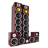 Beng V9M Heimkino Lautsprecher Set Surround Soundsystem (2x Frontlautsprecher, 1x Center-Box, 2x Surround-Lautsprecher) Mahagoni