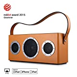 [Upgraded Version] GGMM M4 Airplay Lautsprecher Multiroom Wi-Fi/ Bluetooth Lautsprecher 2.1 Outdoor 40W mit Bass, Mfi-verifiziert, Retro Design, Kompatibel Mit Airplay, DLNA, Spotify (Orange)