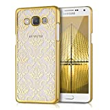 kwmobile Hülle für Samsung Galaxy A5 (2015) - Crystal Case Handy Schutzhülle Kunststoff - Backcover Cover klar Barock Tapete Design Gold Transparent