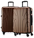 Suitline - 2er Koffer-Set Trolley-Set Rollkoffer Hartschalen-Koffer Reisekoffer, TSA, 66 cm, 100% ABS, Matt, Gold