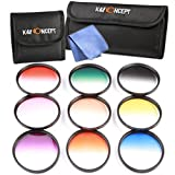 K&F Concept 9pcs 62mm Graduated Color Filter Set Kit Orange Blue Grey Red Purple Green Pink Brown Yellow Lens Filter Kit for Sony Alpha A57 A77 A65 + Lens Cleaning Cloth + Filter Bag Pouch
