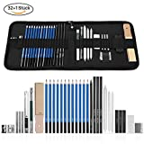 GHB 33 Stück Bleistifte Skizzierstifte Set Skizzieren und Zeichnen Professionelle Art Set mit Graphitkohlestifte Sticks Werkzeuge und Kit Bag