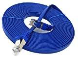 15 m – flach – Cat. 7 – Ethernet Gigabit LAN Netzwerkkabel (RJ45) | 10/100/1000Mbit/s – für Streaming | suhd TV | IPTV | Desktop-PC | Server | Laptops | Netzwerk Drucker | Halogen frei/10 GBS – Hohe Qualität – Kompatibel mit Cat. 5/CAT. 5e/CAT. 6 | Switch/Router/Modem/Patch Panel/Access Point/Patchfelder | blau