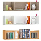 Wandregal Wandboard Hängeregal Bücherregal CD DVD Regal Rack Ablage Flur 3 Fächer Badregal in Sonoma Eiche 75 x 18 x 18 cm (Sonoma Eiche)