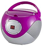 Tragbares Stereo CD-Radio | Tragbarer CD Player | Radio Boombox | AM/FM Radio | LCD-Display | Antishock-Funktion | Pink