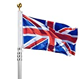 voilamart 20 ft Aluminium Sektionaltor Fahnenstange Teleskop privaten Commercial Flagge Pole Kit mit UK Union Jack Flagge Outdoor
