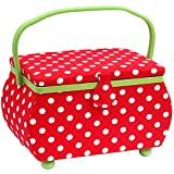 PRYM Polka Dot shaped-handle Nähkorb mit Lime Grün Trim, Baumwolle, Rot/Weiß, Groß