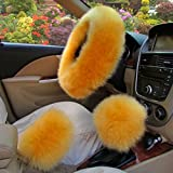 XuanMax Universal Winter Lang Plusch Lenkradbezug Set mit Feststellbremse Shift Knob Bezuge Atmungsaktiv Fahrzeug Weich Warm Lenkradhulle Anti-Rutsch Pelz- Flaumig Lenkradschoner Auto Lenkrad Abdeckung Lenkradabdeckung Furry Fluffy Long Plush Steering Wheel Cover 38cm - Gold