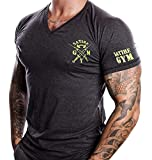 Fitness T-Shirt Herren - V-neck - Geeignet Für Workout, Training - Slim Fit - Farbe Anthrazit - Satire Gym (L, anthrazit - neon grüner Stick)