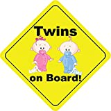 Twins On Board Boy & Girl Bunny Cute Funny Baby Hochwertigen Auto-Autoaufkleber 12 x 12 cm