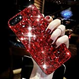 iPhone 8 Plus Hülle,iPhone 7 Plus Hülle,Schutzhülle iPhone 8 / iPhone 7 Plus Silikon Hülle,ikasus® Diamant Strass Schutzhülle Case Hülle für iPhone 8 Plus / 7 Plus,3D Handschlaufe Glänzend Glitzer Bling Crystal Kirstall Diamant Strass Rhinestone Handyhülle iPhone 8 Plus / iPhone 7 Plus Silikon Hülle Stoßdämpfend Transparent TPU Silikon Schutz Handy Hülle Case Tasche Silikon Crystal Case Schutzhülle Etui Bumper für Apple iPhone 8 Plus / iPhone 7 Plus - Rot
