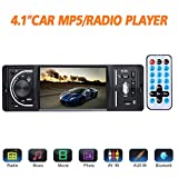 Masione Bluetooth Autoradio Stereo mit FM und Radio in Dash - 4.1' HD TFT Bildschirm, MP3 Video Player, Single Din USB / AUX-in - Freisprechen, Unterstützt Rückfahrkamera und Fernbedienung