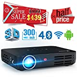 WOWOTO H8 DLP Mini Projector 3D Full HD Projector 1280x800 Support 1080P Android Projector 4.4 OS HDMI Wifi  Bluetooth Home Theater Projector Black