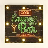 Leuchtschild 237682 Lounge Bar Wandschild LED Schild aus Metall 40 cm Display