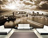 Vlies Fototapete mit Winter SALE 'New York - sephia' 230x150 cm - inklusive Kleister - Tapetenkleister – Bild auf Tapete – Bildtapete – Foto auf Tapeten – Wand – Wandtapete – Vliestapete – Wanddeko - Design