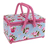 Pretty Twin Lidded Sewing Basket With Pink Handles and Blue Checked / Floral Print Fabric With Removable Tray by Exclusively Made For Yorkshire Giftware Limited