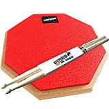 KEEPDRUM DP-RD Practice Pad Rot Drum Übungspad 8mm Gewinde + 1 Paar Drumsticks
