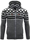 Reslad Herren Grobstrick Norweger Pullover Winter Strickjacke Kapuzenpullover RS-3104 (2XL, Anthrazit)