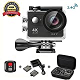 Action Cam 4K Wasserdicht, Daping Action Kamera 12MP Waterproof 170° Weitwinkel 2,0 Zoll, Unterwasserkamera mit 2.4G Fernbedienung + 2 Akkus 1050mAh+ Transporttasche + Zubehör Kits, Schwarz