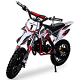 Kinder Mini Crossbike Gazelle 49 cc 2-takt inklusive Tuning Kupplung 15mm Vergaser Easy Pull Start verstärkte Gabel Dirt Bike Dirtbike Pocket Cross rot/weiß