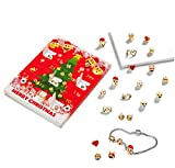 Emoji Jewellery Advent Calendar For Girls Christmas 10 Charm Emoji Bracelets + 8x Stunning Earrings Gift Present Xmas 18K Gold Plated 3D Emoji Slide Fun Face Charms Funny Bracelet