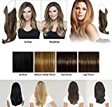 LIGHT BROWN Flip in Hair Extensions Haarverlängerung Wonder Natural Extensions Haarteil Hairpiece Zopf MIT GUMMIBAND, Haar-Verlängerung 60cm