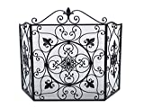 Kamin Funkenschutz Fleur de Lis Eisen Kamingitter Antik-Stil fire screen guard