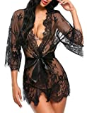 Avidlove Dreiteilig Nachtwäsche Negligee Kleid Gown Kurz Babydoll Erotik Lingerie mit G-String Gürtel Nachthemd Transparente Dessous Damen Sexy Robe Long Sleeve Sheer Mesh Lace-Trim XL Schwarz