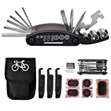 Tagvo Fahrradwerkzeug-Kit, 16 in 1 Fahrrad-Multifunktionswerkzeug mit Patch-Kit und Reifenheber, Fahrrad-Fix-Tool-Kit, Bike Cycling Repair Tools Bundle, Zyklus-Wartungs-Kits mit Beutel