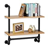 Relaxdays Wandregal Industrie, 2 Ablagen, Wandmontage Bücherregal, Holz, Vintage, Retro-Look, HBT: 68,5x60x24 cm, natur