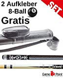 Angebot ! Billardset: Pool Queue White Scorpio mit Köcher 1.1 Oval-Schwarz mit Schultergurt und abnehmbarer Tasche + 2 Aufkleber 8-Ball Gratis