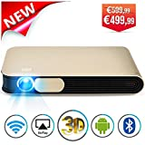 WOWOTO DLP Mini Beamer 3500 Lumens 3D Full HD Projektor 1280*800 Unterstützt 1080p LED Projektor, Android 4.4 OS mit WiFi HDMI AirPlay Miracast Automatische Trapezkorrektur Heimkino Videoprojektor für Laptop Smartphone Tablet PC TV PS4 XBOX