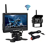 Wireless Reverse Camera, Podofo@ 7' HD TFT LCD Vehicle Rear View Monitor + Waterproof Backup Camera Night Vision Parking System with Car Cigarette Lighter Charger For Truck RV Trailer( Nein GUIDE LINE)