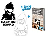 2er Set Baby on Board Sticker + GRATIS e-Paper. 2er Set Baby on Board Autoaufkleber schwarz und weiß von finest-automobile.